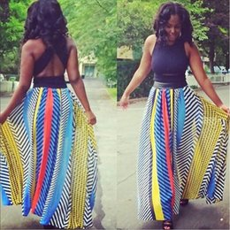 Wholesale Skirt Styles Long - plus size long tulle skirts 2017 summer style colorful print chiffon maxi skirts women american apparel long skirt XD126