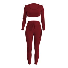 Wholesale High Waisted Black Short Pants - 2016 European Major Suit Fashion pink crop tops Hooded Self-cultivation casual Fission Pants Explosion womens sets ladies tracksuit