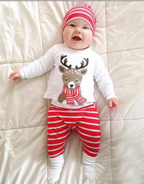Wholesale Leopard Animal Hat - 3pcs set New INS baby Christmas Outfits cotton hat+Christmas deer printing top+Striped pants Xmas kids suit Free Shipping