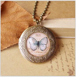 Wholesale Butterfly Locket Vintage - Chinese style Retro Vintage Photo Lockets Butterfly Tower Bird Pattern Designs Locket Pendant Necklace Long Sweater Chain 10pcs