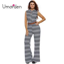 Wholesale Maxi Pants - Wholesale- Umorden Fashion Plaid Dot Belted Sleeveless Women Jumpsuit Jumpsuits Rompers S-2XL Plus Size Large Boot Cut Maxi Long Pants