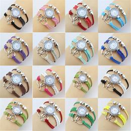 Wholesale Wholesale Double Wrap Watches - Fashion 100pcs Weave Bracelet Watches Lady Wrap Love Double Heart Leather Wrist Watches For Women Quartz Watch Mix Color
