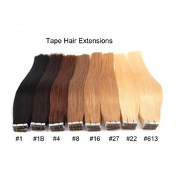 "Wholesale Tape Weft Light Brown Extensions - wholesale price 2.5g pcs 40pcs pack 8"" -24"" skin weft tape remy hair extensions,#1 #1B#4#8#16#27#22#613 color tape in hair extensions"
