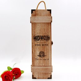 Wholesale Wine Wooden Box - Portable Wood Wine Box 1 Bottle Gift Box Winery Packaging Wooden Bar Accessories Restaurant Hotel Present ZA5193