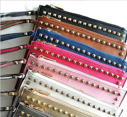 Wholesale Envelope Small Bag - Fashion 8 colors 1:1 quality famous brand handbags PU leather with rivets envelope bag Clutch bags for valentines women luxury clutch bag