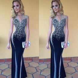 Wholesale Two Tone Sequin Dress - Bling Silver Black Two Tones Evening Dresses Formal Wear Gowns Sheath 2017 New Sheer Cap Sleeves V Neck Floor Length Prom Gowns