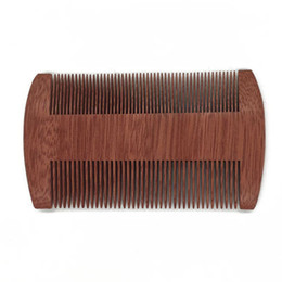 Wholesale Double Paddle - 100pcs lot Fast shipping Custom Logo Blank Amoora Wood Comb Beard Comb Double-edged Fine-toothed Comb10cm Length wood Comb