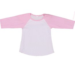 Wholesale Three Quarter Shirt Wholesale - Kids T-shirt custom made children splicing color 3 4 sleeve T-shirt baby kids cotton tops boys girls raglan shirts children clothing A0272