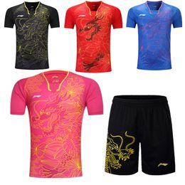 Abiti da badminton online-Calda, nuova maglietta da tennis da tavolo + tuta da uomo / donna T-shirt da tennis assorbente traspirante traspirante