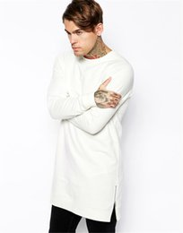 Wholesale Hoodie Zip Mens - 2017 Brand Clothing Male Long White T shirt Mens Sweatshirts Zip Fashion Tall Solid None hoodies Sweatshirts Warm Sudadera