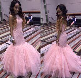 Wholesale Gala Prom Dresses - Pink Mermaid African Prom Dresses for Black Girls Beaded Crystal Long Evening Party Gowns Dress gala Vestido de Fiesta 2017