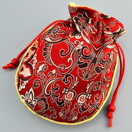 Wholesale Small Cotton Drawstring Pouches - Thicken Cotton Filled Small Silk Brocade Bag Drawstring Gift Packaging Jewelry Trinket Crafts Storage Pouch Wedding Party Favor Bags