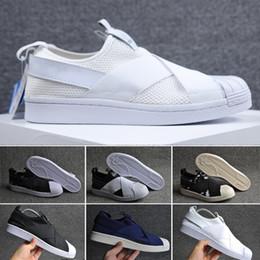 Wholesale Best Summer Sandals - 2017 Best Qualilty Summer SUPERSTAR SLIP ON Sandals Loafers For Men Women head crossed strap black and white unisex sneakers 36-44