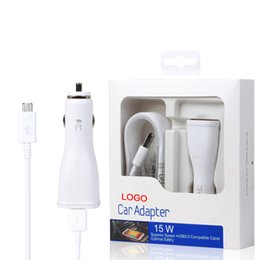 Wholesale Micro Chargers Single Cars - 100% Original Auto Universal Single Micro USB Car Charger For Smartphone Galaxy Note4 Note5 S6 Edge Adaptive Fast Charging Adapter 5V 2A