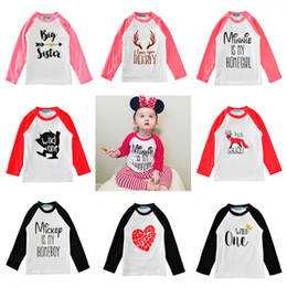 Wholesale Big Boys Shirts - INS Xmas children cartoon t shirt tops candy colored boys girls t-shirt 2017 autumn fashion letter big sister kids outwear baby clothes 1-5T