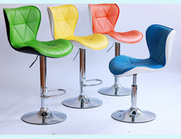 Wholesale Restaurant Furniture Chairs - public house chair blue green color PU leather seat living room computer stool furniture market retail wholesale free shipping