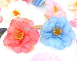 Wholesale Peach Hair Clips - flower head 10 PCS Artificial Peach Blossom Silk Flower Heads for Hair Clip wedding decoration B59