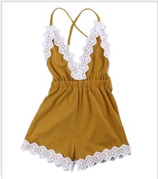 Wholesale Onesies Tutus - 2017 New Baby Girl Lace Jumpsuits Lovely Infant Girls V-Neck Backless Suspender Shorts Toddler Lace One-Piece Onesies 4pcs lot