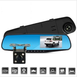 Wholesale Dual Lens Camcorder - New Full HD 1080P Car Dvr Camera Auto 4.3 Inch Rearview Mirror Digital Video Recorder Dual Lens Registratory Camcorder