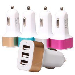 Cargador de coche usb tres online-Universal 12 V 24 v 2.1A2A1A Aluminio Tres Triple USB Adaptador de cargador de coche universal 3 puertos para iPhone Samsung Vehículo herramientas de carga