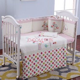 Wholesale Baby Cot Quilts - 7Pcs Set Cotton Pink Baby Bedding Set Cartoon Crib Bedding Set for Girls Detachable Cot Quilt Pillow Bumpers Fitted Sheet