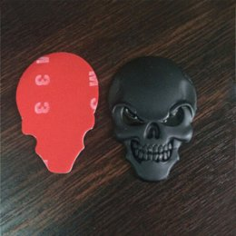Wholesale High Quality Carbon Fiber Vinyl - Brand New and High Quality 3D Metal Gold Black Skull Skeleton Car Motorcycle Decal Stickers Emblem Badge