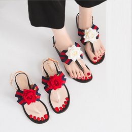 Wholesale Open Back Thong For Women - Summer 2017 New thong sandals women sweet roses thick high-heeled sandals for women's shoes