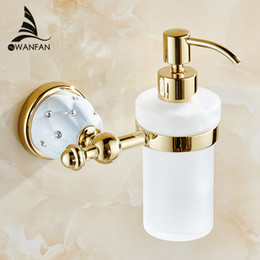 Wholesale Bathroom Wall Soap Dispenser - Luxury Wall Mounted Liquid Soap Dispenser With Gold +Frosted Glass Container Bottle Bathroom Products Accessories Liquid 5218