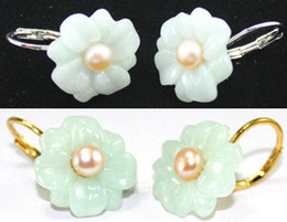 Wholesale White Jade Carvings - Wholesale cheap 2 colors! lovely white pink pearl & carved flower silver jade stud earring