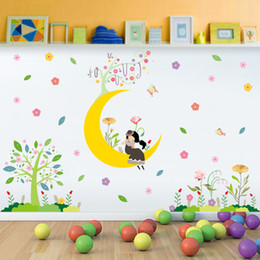 Wholesale Graphic Design Cartoons - Cartoon Girl on Moon Tree Flowers Wall Border Decals Stickers Kids Babies Room Nursery Wallpaper Poster Art Decorative Wall Graphic Mural