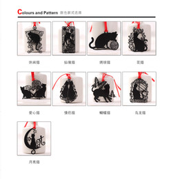 Wholesale Metal Cat Bookmark Wholesale - Lovely Cute Kawaii Metal Bookmark Black Cat Book Holder for Book Paper Creative Gift Korean Stationery Free shipping
