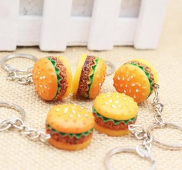 Wholesale Bread Man - Cute Hamburger key chains Food Pendant Key Ring Hamburger pizza bread Keychains Christmas Birthday Gift Promotion