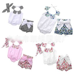 Wholesale Set Suits 3m - New Baby Rompers European Style Floral One Piece + Headband + Shorts Briefs Girls Sets Suit Sweet Flower Infant onesie newborn clothes A6338