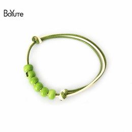 Wholesale Cheap Bead Sliders - BoYuTe (10 Pieces Lot) Diy Handmade 4 Colors Ceramic Bead Knitted Rope Bracelet Cheap Christmas Gifts Women's Accessories