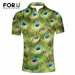 Wholesale Peacock Feather Shirt - FORUDESIGNS Men Polo Shirts Peacock Pattern Short Sleeve High Quality Peacock feather Polo Shirt Fashion Slim Men's Casual Polos