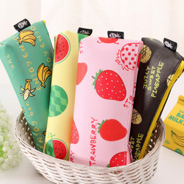 Wholesale Schools Bags Strawberry - Wholesale- Cute Summer Fruit Watermelon Strawberry Pineapple Banana PU Pencil Bag Big Capacity Kawaii Students Pencil Case School Supplies