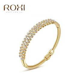 Wholesale Drill Ends - ROXI Hand Jewelry Wholesale Inlaid Austria Crystal 18K Gold Three Row Drill Bracelet High-end Bracelet