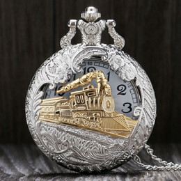 Wholesale Antique Pocket Chain Watches - Wholesale-Vintage Silver Gold Train Carved Steampunk Gears Skeleton Silver Quartz Pocket Watch Pendant Men Clock Women Necklace Chain Gift