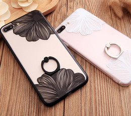 Wholesale Iphone Case Luxury Lace - Luxury Coque Case Ring Grip Lace Flower Pattern Case For Apple iPhone SE 5 5s 6 6s plus case pc Back Cover with Ring Stand