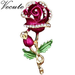 Wholesale Crystal Pin For Clothes - Gold Plated Decorative Love Rose Brooch Pin Garment Clothes Accessories Jewelry Flower Brooch for Women Ladies Free Shipping