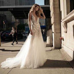 Wholesale Embellished Wedding Dresses - Sexy Romantic Tulle Skirt Weding dresses 2017 berta bridal sleeveless Luxury Wedding Dress deep v neckline heavily embellished chapel train