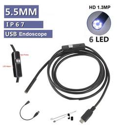 Wholesale Mini Usb Endoscope - Mini 5.5mm 5M USB Endoscope IP67 waterproof Borescope Micro Camera Snake 480P OTG Android phone Laptop PC