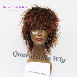 Wholesale Short Brown Men Curly Wig - Afro Synthetic Water Wet kinky curly hair wig Short Two Tone Ombre Brown color hair Female Machine wigs for Fairy Woman or Men