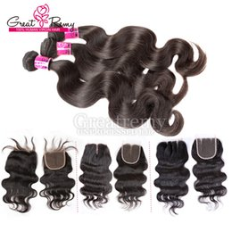 Wholesale Head Human Hair Extensions - 7A Grade 3pcs Brazilian Hair Bundles With Free 1pc Top Closure Full Head Greatremy Factory Human Hair weave Peruvian Hair Extensions Weave