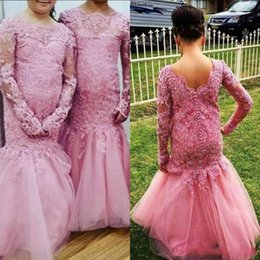 Wholesale Father Christmas Cover - 2017 Crew Neck Long Sleeves Mermaid Flower Girls' Dresses With Tulle Train Lace Appliques Beads Covered Button Back Girls Wedding Dresses