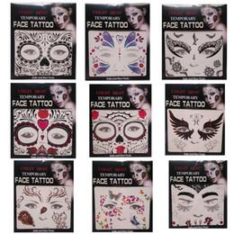 tatuagens de transferência facial Desconto Venda quente susto noite rosto temporária tatuagem Body art tatuagens de transferência de cadeia temporária adesivos em estoque 9 estilos