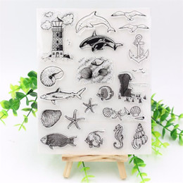 Wholesale Animals Planner - Wholesale- Marine Animals Clear Silicone Transparent Stamp for DIY scrapbooking Planner photo album Decorative craft