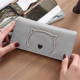 Wholesale Korean Black Dresses For Women - 2017 New Cute Cat Heart Clutch Bags PU Leather Candy Color Wallets & Holders For Lady Long Wallets