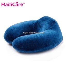Wholesale Air Foam Pillow - Sleeping Memory Foam Velvet U Shape Pillow Rebound Microbeads Neck Pillow For Headrest Siesta Travel Flight Car Air Health Care