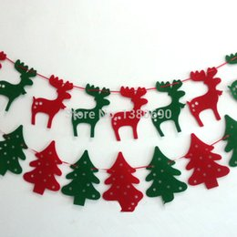 Wholesale Flag Parts - Wholesale- 8 Flags 2.5m Merry Christmas Xmas Gift Hang Window Tree Part Decoration Elk Flag Red and Green Party Pub Banner Hollow decor